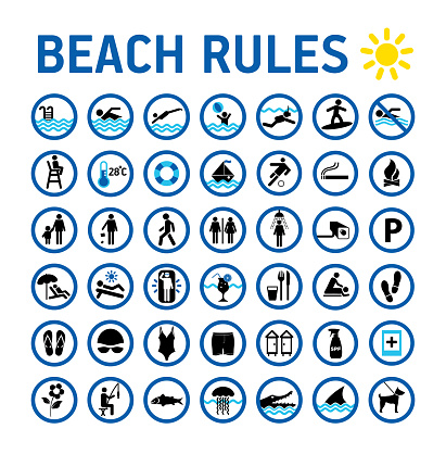 Beach rules icons set and sighns on white with desihn in circles. Set of icons and symbol for prohibited items.