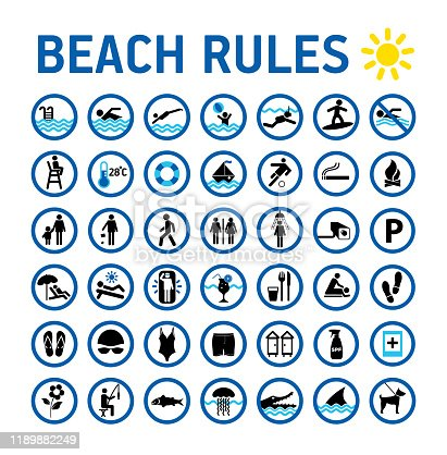 istock Beach rules icons set and sighns on white with desihn in circles. Set of icons and symbol for prohibited items. 1189882249