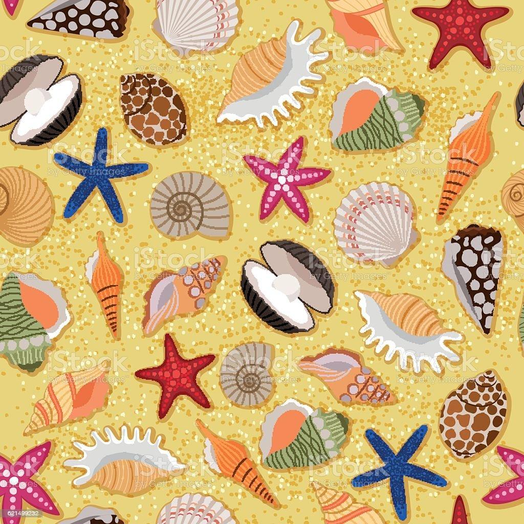Beach sand background with sea shells beach sand background with sea shells - immagini vettoriali stock e altre immagini di a forma di stella royalty-free