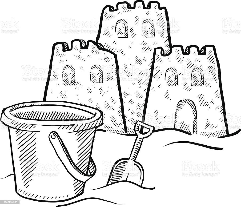 beach sand castle and bucket sketch stock vector art 157965041