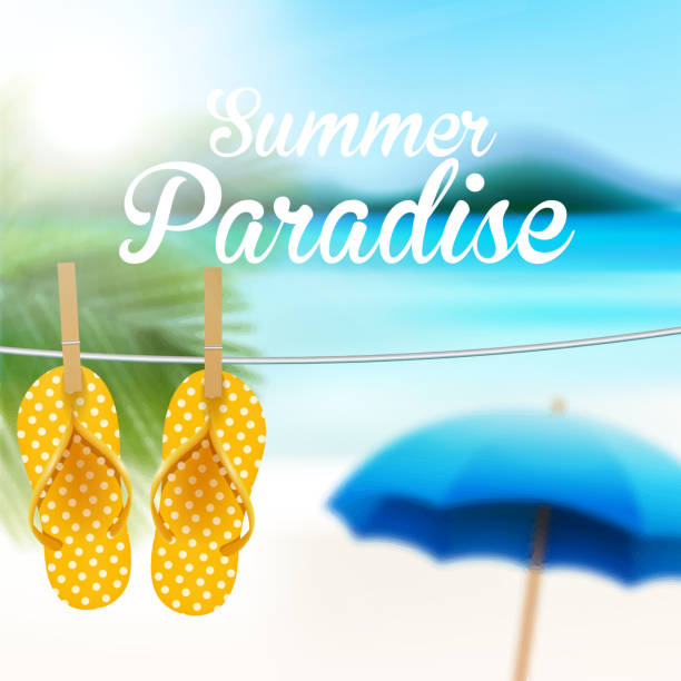 389a2e53f46ad Beach sandals hanged on a rope vector art illustration