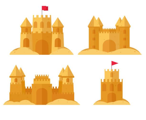 illustrations, cliparts, dessins animés et icônes de ensemble de plage de sandcastle. jeux d'été de l'enfant de sable. - chateau de sable