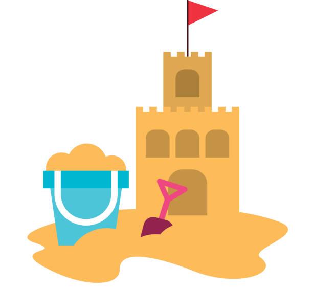 illustrations, cliparts, dessins animés et icônes de sandcastle plage avec seau de sable - chateau de sable