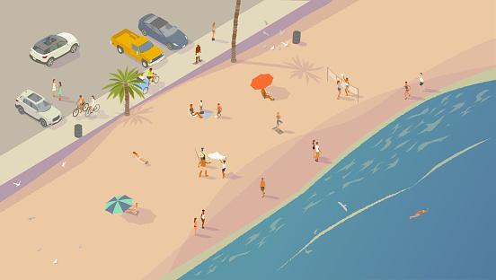 Beach scene isometric