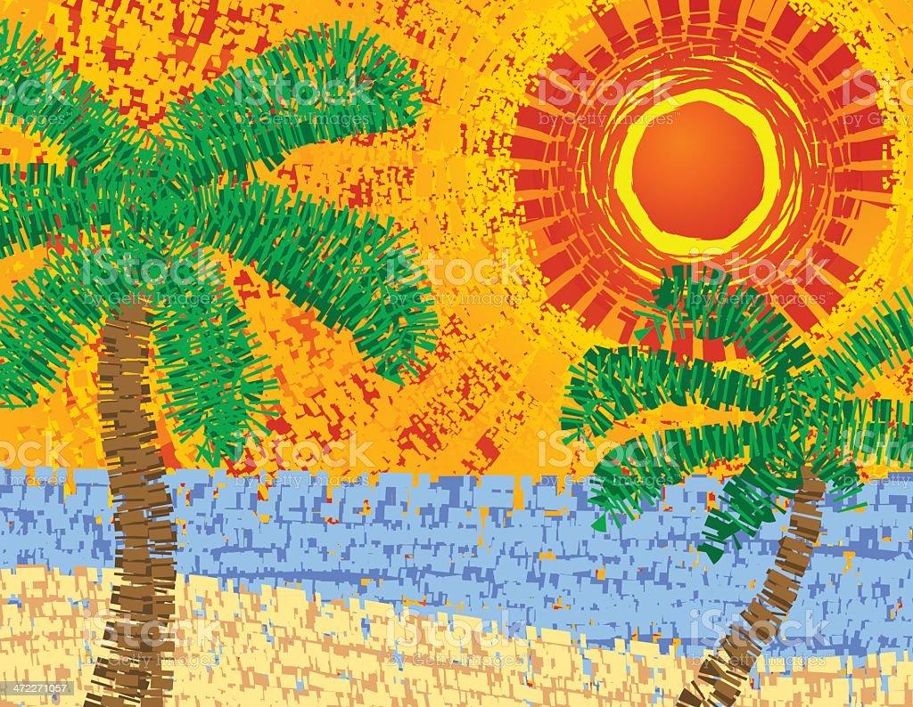 Beach Scene - Vector Mosaic royalty-free stock vector art