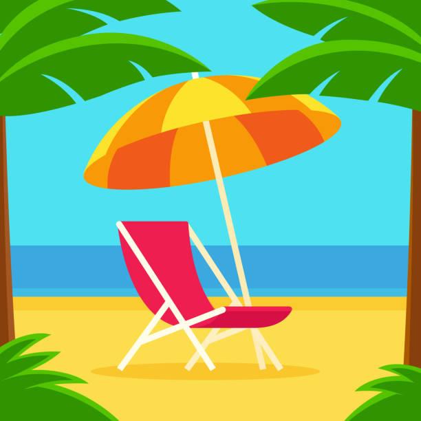 illustrations, cliparts, dessins animés et icônes de scène de plage avec la chaise et le parapluie - transat