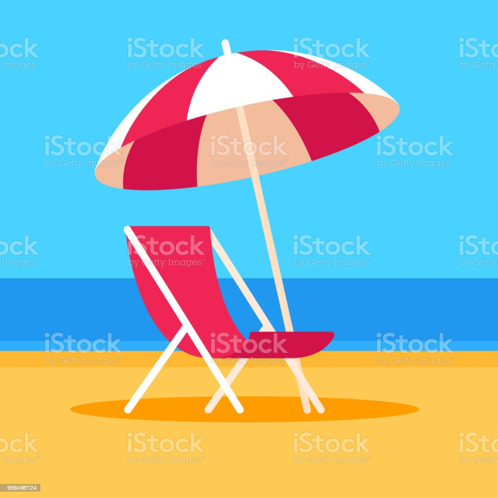 Beach scene with chair and umbrella Summer vacation vector illustration. Beach scene with umbrella and beach chair, flat cartoon style. Art stock vector