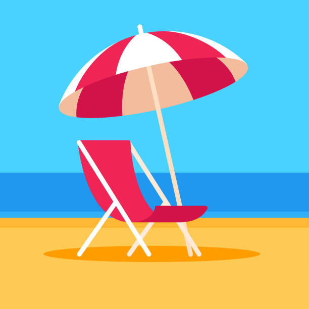 Beach scene with chair and umbrella Summer vacation vector illustration. Beach scene with umbrella and beach chair, flat cartoon style. outdoor chair stock illustrations