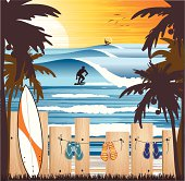 Tropical beach with surfer making a cut splashing arround, palm trees, flip flop sandals and surfboard. EPS10. File contains transparencies in multiply mode in the shadows in sandals and board. File is layered with global colors for easily editting.