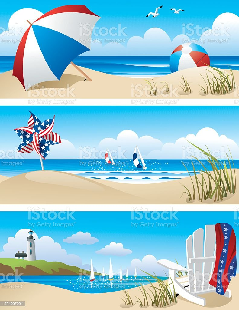 Beach Scenes vector art illustration