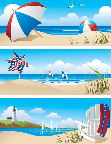 Beach Scenes Summer beach scenes with beach umbrella, beach ball, sailboats and lighthouse adirondack chair stock illustrations