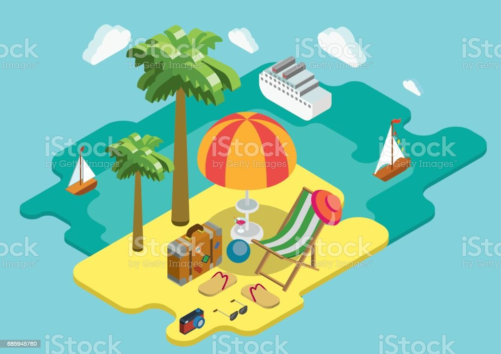 Beach Sea Ocean Cruise Summer Vacation Flat 3d Isometric