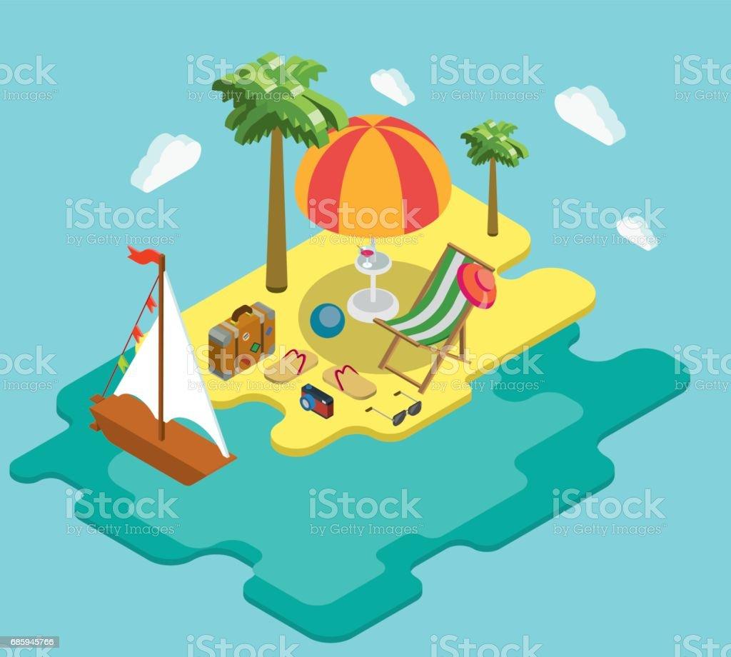 Ocean Vacances Pixel Yacht Mer Plage 3d Isométrique Appartement Art zLSqUVjpMG
