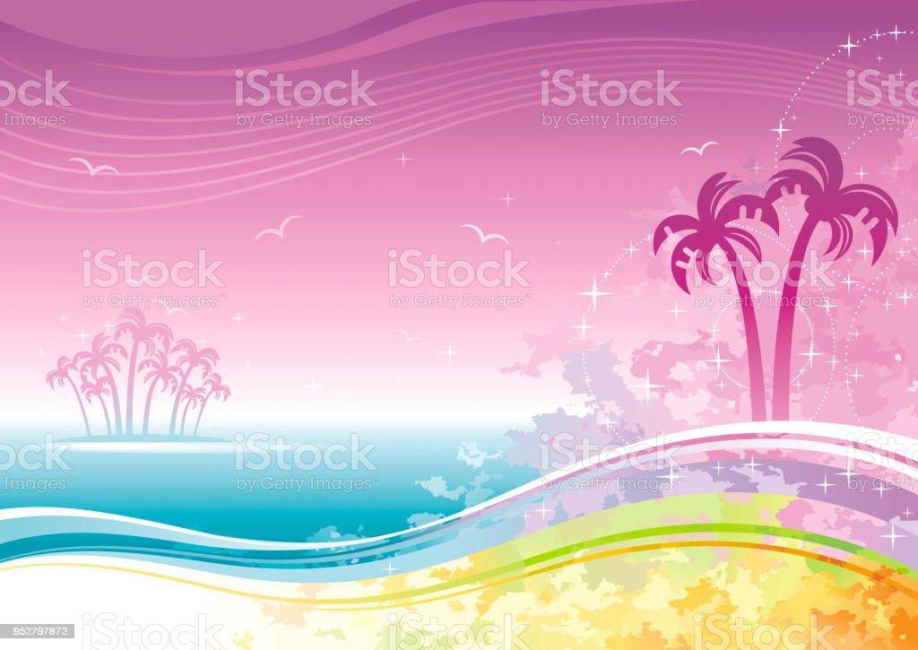 Playa Mar Poster Paisaje Partido De Luau Hawaiano Ilustración De ...