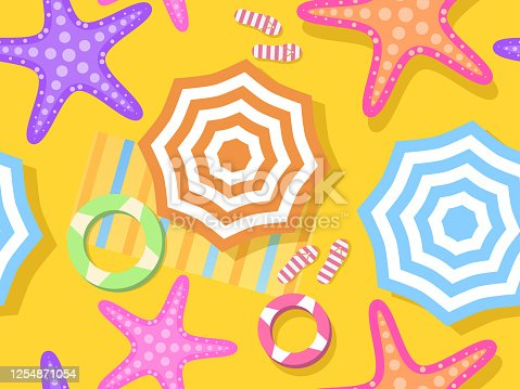 istock Beach seamless pattern, top view. Beach umbrella and towel on the sand, starfish. Flat design style. Vector illustration 1254871054