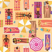 Beach seamless pattern top view. Summer people on a sunny beach. View from above summertime people with Umbrellas, towels and sunbeds. Cartoon vector illustration.