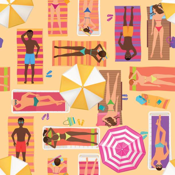 Beach seamless pattern top view. Summer people on a sunny beach. View from above summertime people with Umbrellas, towels and sunbeds. Cartoon vector illustration. vector art illustration