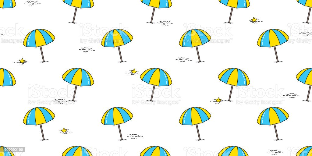 Beach Seamless Pattern Umbrella Isolated Summer Sea Ocean Vector Wallpaper Background Illustration Doodle Cartoon Blue Yellow
