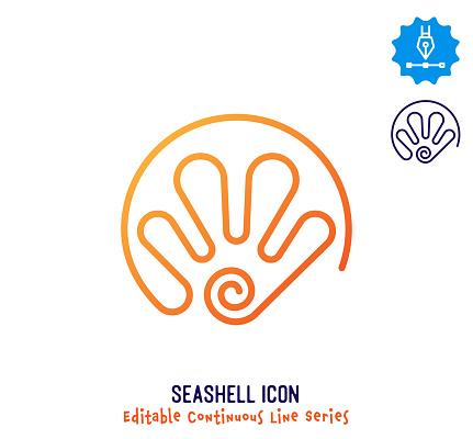 Beach Seashell Continuous Line Editable Icon
