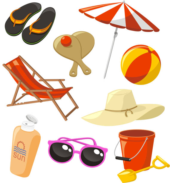 Beach Set Icons vector art illustration