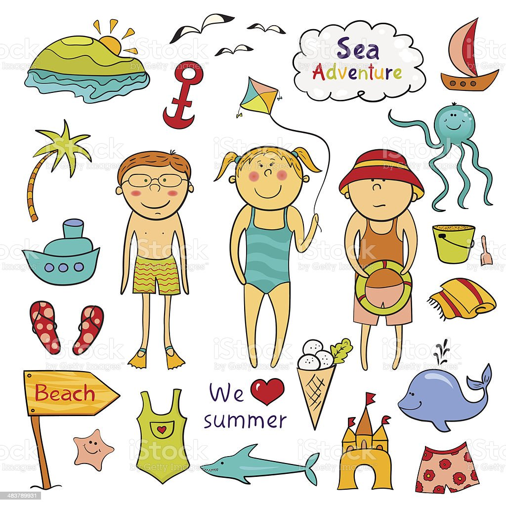 Beach  set  in doodle style royalty-free beach set in doodle style stock vector art & more images of adventure