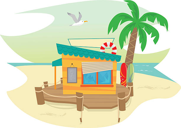 Beach Shack vector art illustration