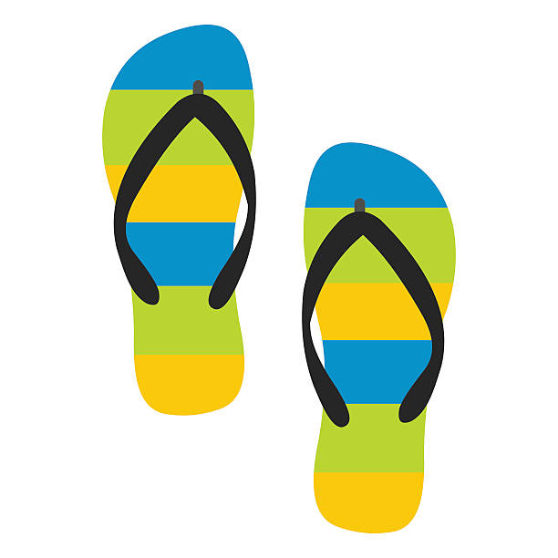 stockillustraties, clipart, cartoons en iconen met beach slippers icon - slipper