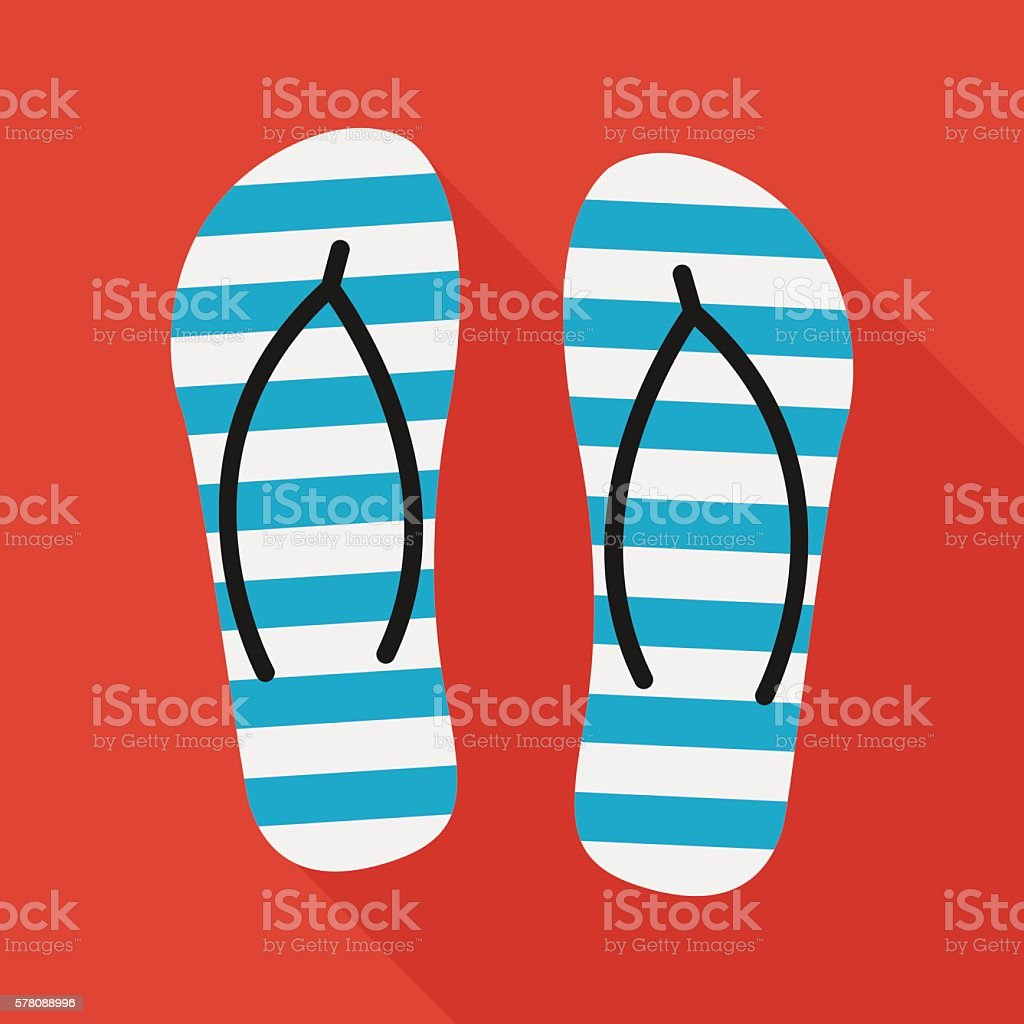 beach slippers icon with long shadow. flat style illustration vector art illustration