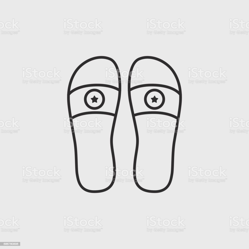 Beach slippers vector art illustration