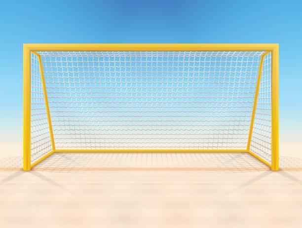 stockillustraties, clipart, cartoons en iconen met beach voetbal goal post met uitzicht op netto, front - soccer goal