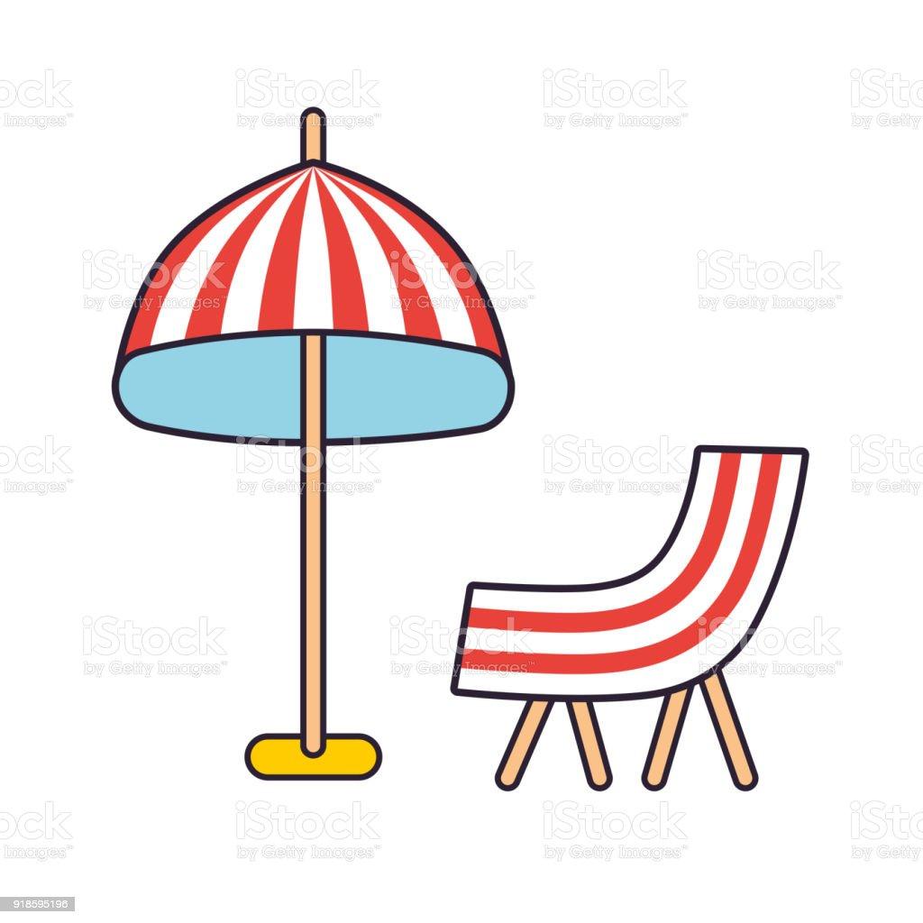 Liegestuhl mit sonnenschirm clipart  Strand Gestreift Sonnenschirm Und Liegestuhl Stock Vektor Art und ...