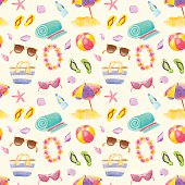 Watercolor seamless beach pattern. Summer beach vacation objects.