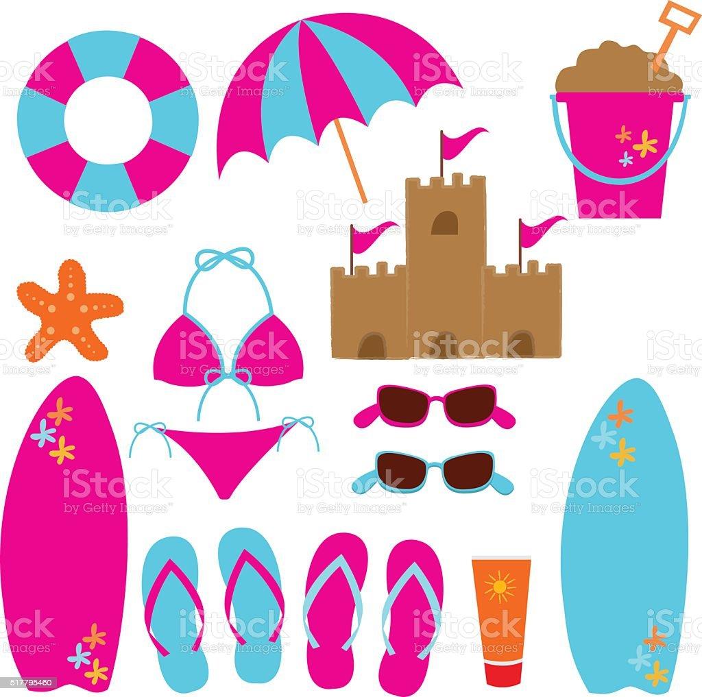 Beach summer day elements vector art illustration