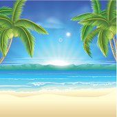 Summer holiday beach background of a beautiful summer sandy beach with coconut palm trees framing the image. Vector file is eps 10 and uses transparency blends and gradient mesh