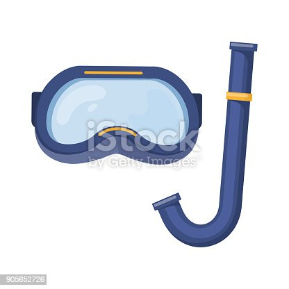 Scuba diving mask on white background, cartoon illustration of beach accessories for summer holidays. Vector