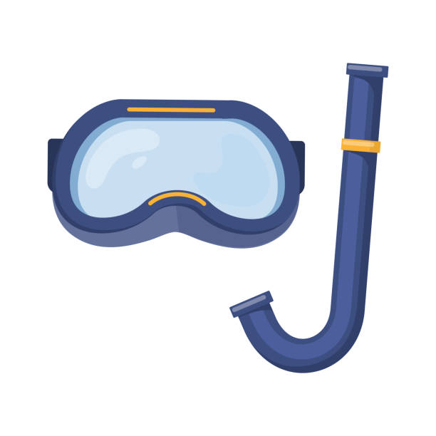 Beach summer holidays Scuba diving mask on white background, cartoon illustration of beach accessories for summer holidays. Vector swimming goggles stock illustrations