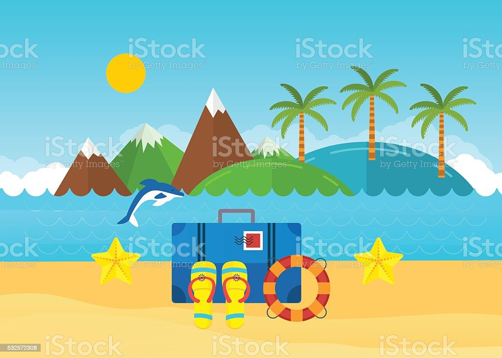 Beach summer landscape. Baggage with travel icons vector art illustration