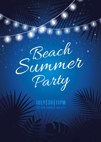 Beach Summer Party - Tropical background with night starry sky, palms, leaves and hanging party lights.