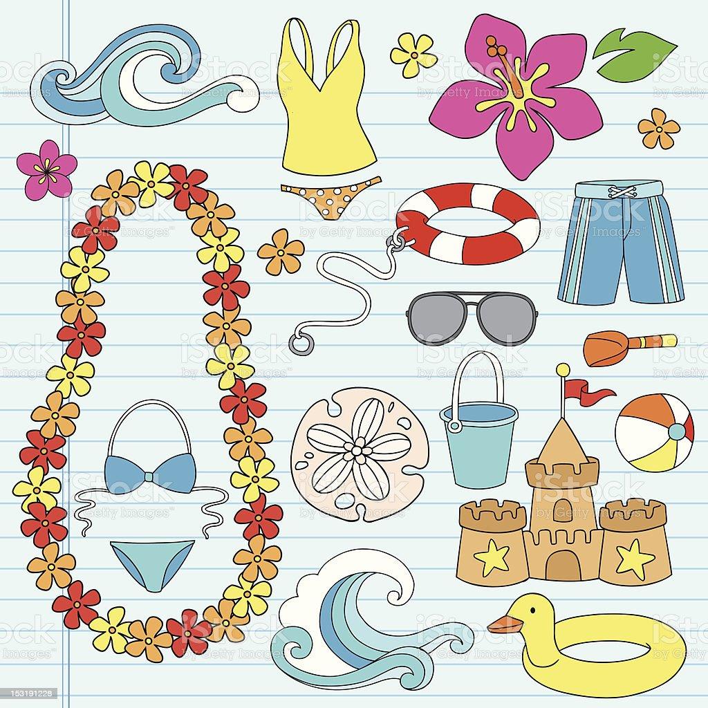 Beach Summer Vacation Tropical Doodles Set royalty-free stock vector art