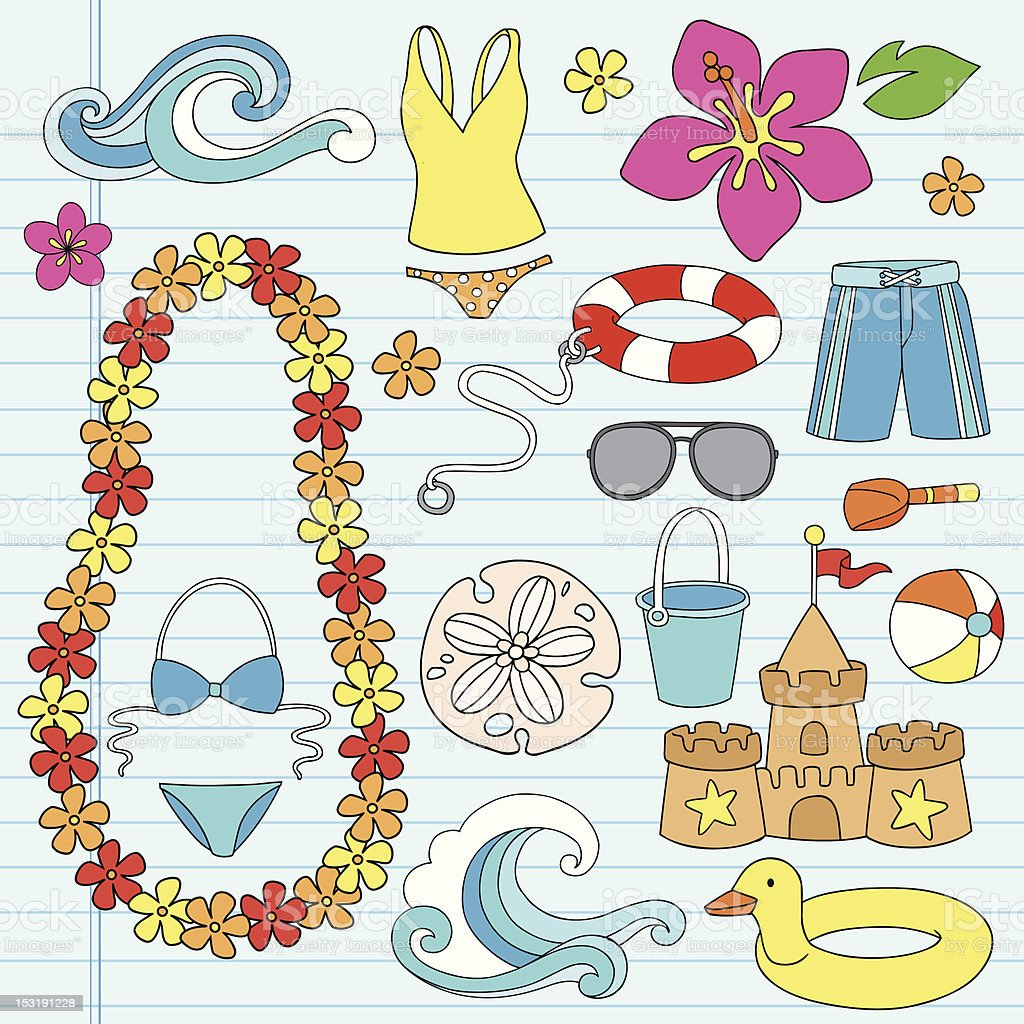 Beach Summer Vacation Tropical Doodles Set vector art illustration