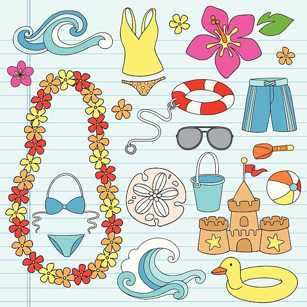 beach summer vacation tropical doodles set - hawaiian lei stock illustrations, clip art, cartoons, & icons