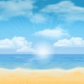 Sun over the sea horizon and the clouds. Vector background.