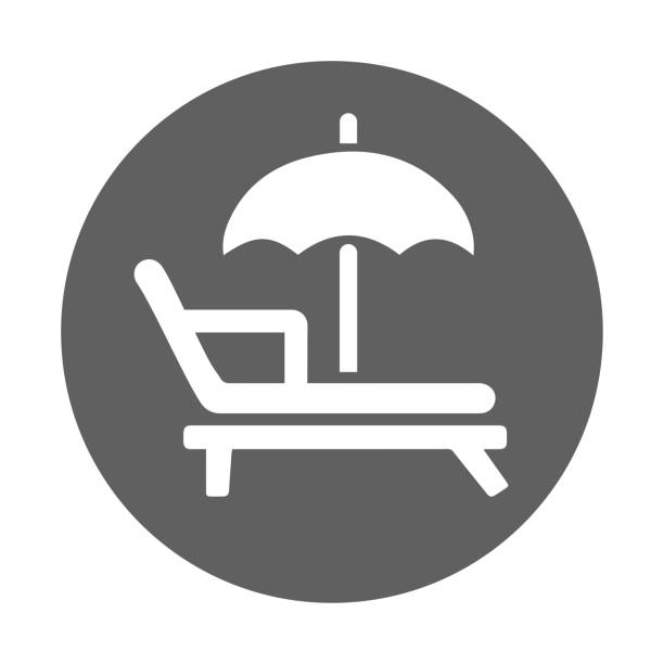 Beach, sunbed, vacation icon. Glyph gray vector on isolated white background Beach, sunbed, vacation icon. Beautiful design and fully editable vector for commercial use, printed files and presentations, Promotional Materials, web or any type of design projects. holiday and seasonal icons stock illustrations