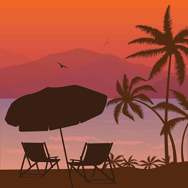 beach sunset two chair palm tree and umbrella silhouette - stuhllehnen stock-grafiken, -clipart, -cartoons und -symbole
