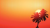 Simple vector of palm trees in the sunset on an abstract orange background with lots of room for copyspace. Each palm tree is individually selectable.