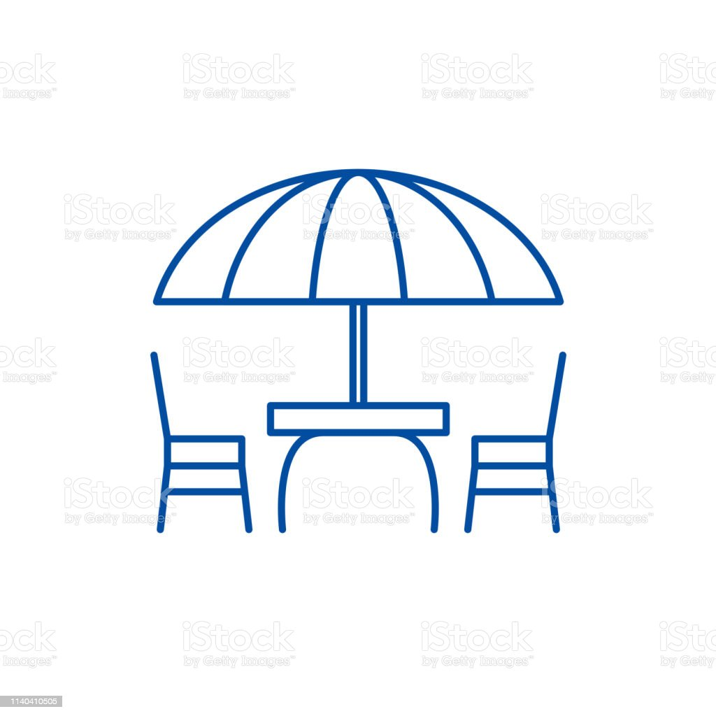Beach table and chairs line icon concept. Beach table and chairs flat  vector symbol, sign, outline illustration.