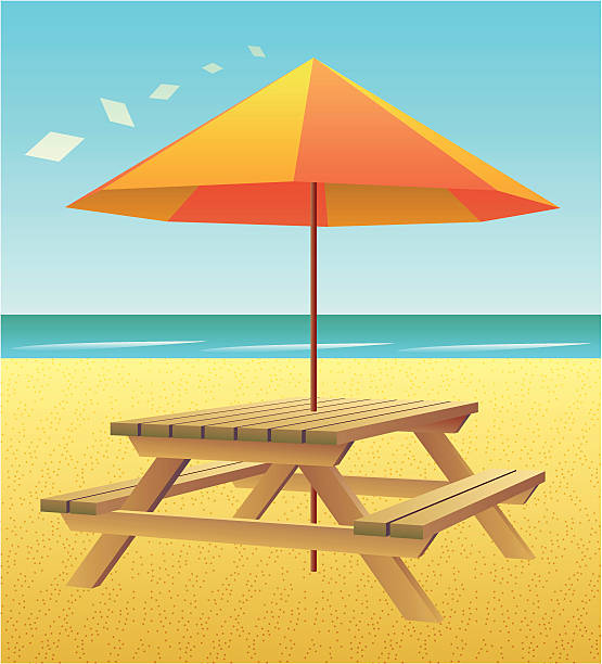 Best Beach Picnic Table Illustrations, Royalty-Free Vector ...