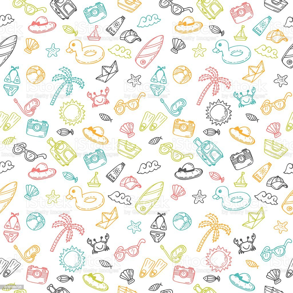 Beach Theme Card Stock: Beach Theme Background Cute Hand Drawn Summer Theme Stock