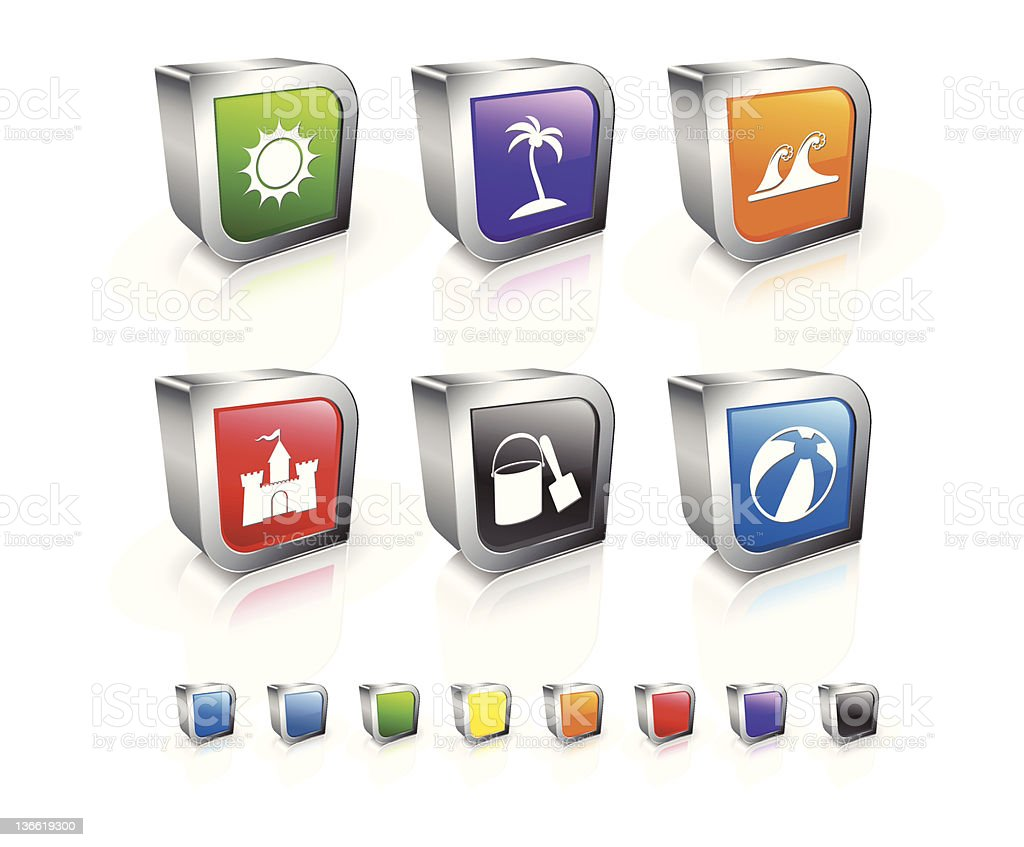 beach time 3D royalty free vector icon set royalty-free stock vector art