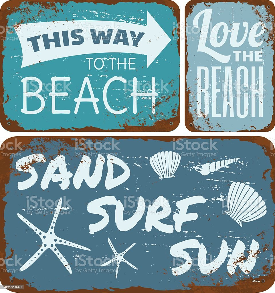 Beach Tin Signs Collection vector art illustration